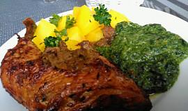 Kuřecí stehna, pečená v kachním sosu