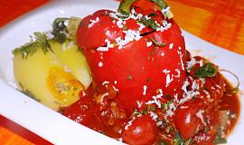 Papriky plněné černou čočkou