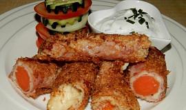 Smažená mrkev se šunkou a sýrem