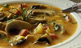 Žampionová polévka s uzeným masem