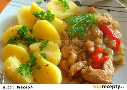 Kuřecí nudličky s fenyklem, paprikou a pórkem