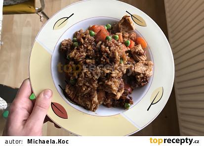 Sojová rýže s krůtím masem