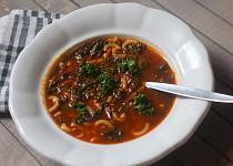 Houbová  polévka s kadeřávkem a těstovinou
