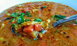 Polévka s hlívou ústřičnou, dršťkami a barevnou zeleninou