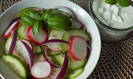 Okurkový salát se smetanovou zálivkou a bazalkou