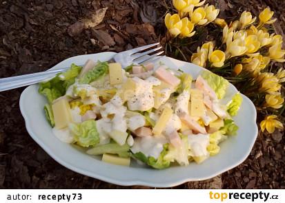 Salát Little Gem se sýrem a šunkou