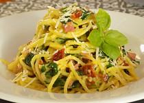 Špagety s medvědím česnekem na způsob carbonara