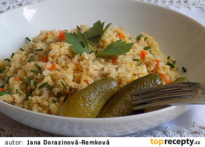 Bulgur s mrkví a vepřovým masem
