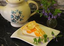 Mřížkový koláč s broskvemi a pudinkovo-jogurtovou náplní