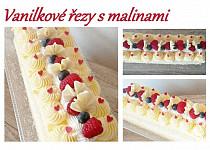Vanilkové řezy s malinami
