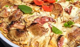 Zapečené hermelínové brambory se slaninou a smetanou
