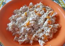 Tarhoňoto s pečeným kuřecím masem a mrkví - pro nejmenší