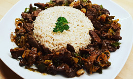 Krůtí játra na cibulce s basmati rýží