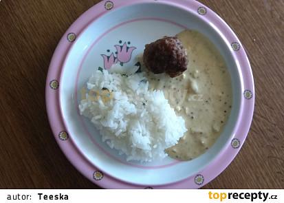 Kuličky z mletého masa s hořčičnou omáčkou a rýží