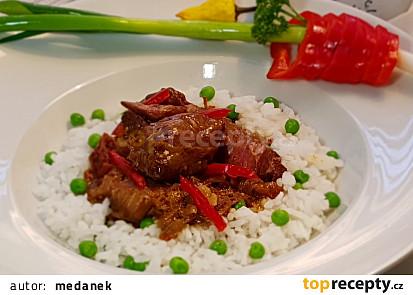 Kýta v sladké chilli omáčce s hráškovou rýží