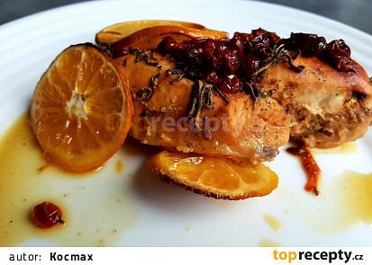 Kuřecí prsa se šumivým vínem, rakytníkem a pomerančem