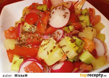 Ředkvičkovo okurkový salát s ananasem