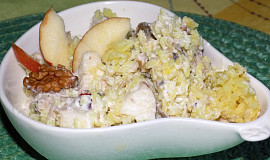 Rýžový kari salát s rybičkami