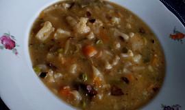 Květáková polévka se zeleninou a houbami