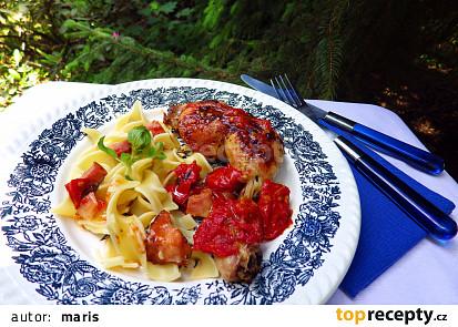 Kuřecí stehna na víně s rajčaty a oreganem