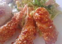 Parmezánovo sezamové kuřecí nugetky s volnou variací na coleslaw