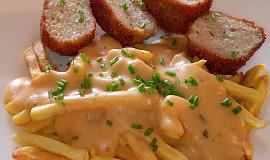 Kuřecí sýrové mleté kuličky s bešamelovo-hořčičnou omáčkou
