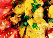 Zapečené brambory s vařeným vepřovým masem