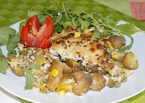 Brambory zapékané s lesními houbami a arašídovým máslem