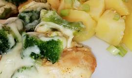 Přírodní kuřecí plátek s dušenou brokolicí a mozzarellou