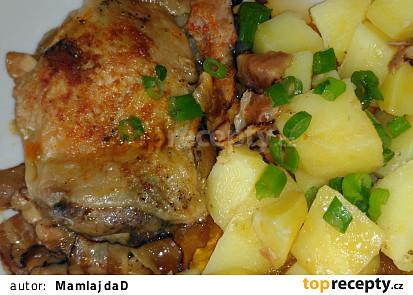 Kuře na hříbcích v alobalu