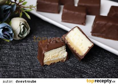 Cheesecake kostky v čokoládové polevě