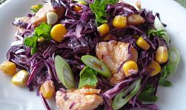 Salát z červeného zelí s kukuřicí a kuřecím masem