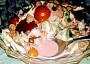 Tady je vidět růžová majonéza