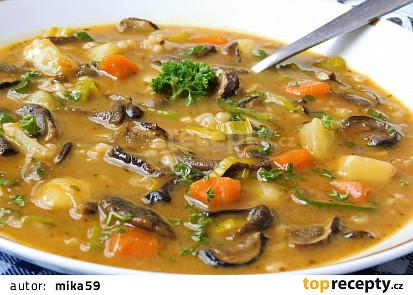 Houbová polévka s kroupami a zeleninou