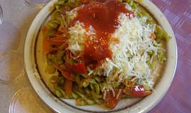 Těstoviny z hrachové mouky s restovanou zeleninou