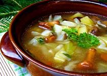 Letní zelná polévka s houbami a bramborem