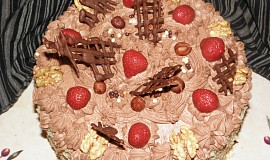 Dort s čokoládovým krémem a ovocem