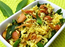 Rýže s uzeným kuřetem a medvědím česnekem