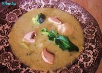 Brokolicovo-květáková polévka se žampiony a zakysanou smetanou s koprem