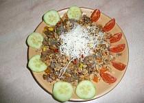 """""""Rizoto"""" ze sójového granulátu s hovězím ,sypané mandlemi"""