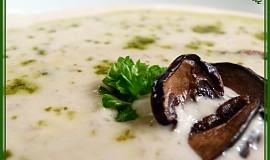 Houbový krém ze sušených hub s bazalkovým pestem