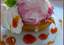 Karamelová hruška se zmrzlinou