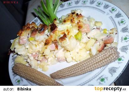 Těstoviny a brambory zapečené s pórkem a nivou