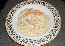 Špagety s krevetami a nivou