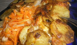 Pangas zapečený s česnekovo-pórkovými brambory