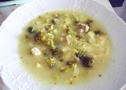 Vícesýrová polévka s brokolicí a mletým masem