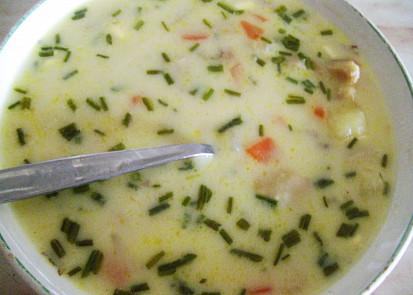 Smetanovo-sýrová polévka s hlívou