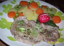 Vepřové maso na česneku se zeleninou-(Parní hrnec)
