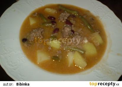 Dvoufazolová polévka s mletým masem