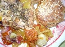 Kuřecí maso s celozrnými placičkami